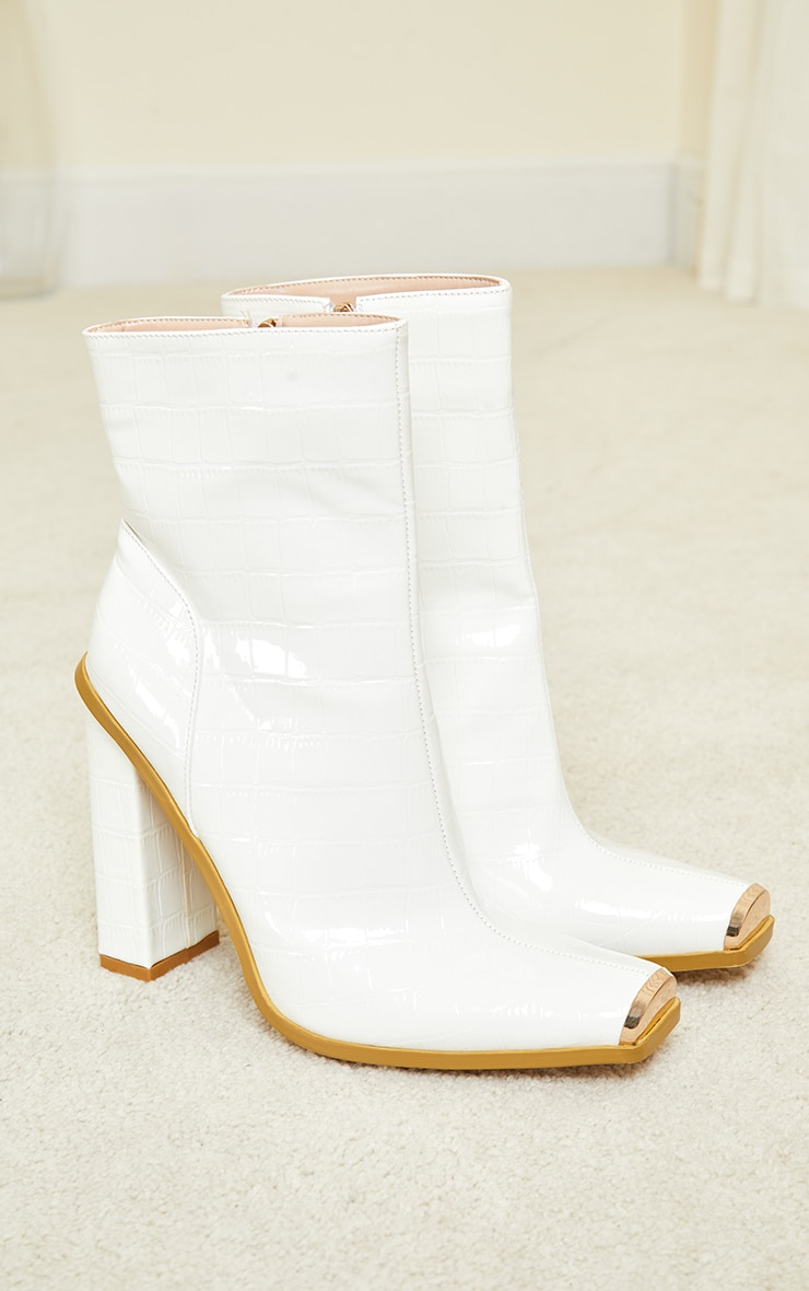 White Metal Toe Highlight Block Heel Ankle Boots 4