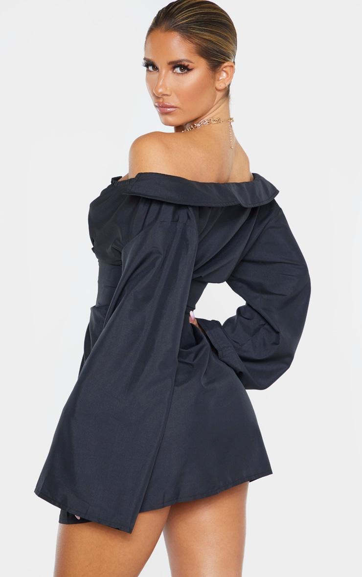 Black Bardot Flare Sleeve Lace Up Shirt Dress 2