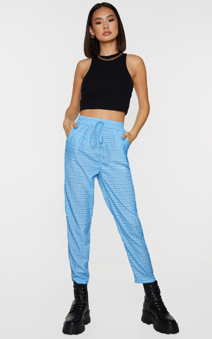 Blue Checked Casual Pants 1