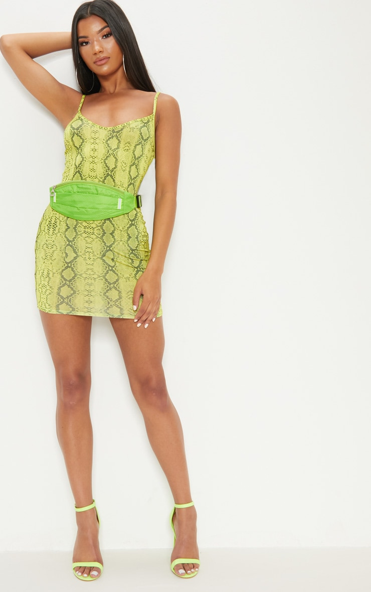 e751aec3c58d Yellow Snake Print Strappy Bodycon Dress | PrettyLittleThing USA