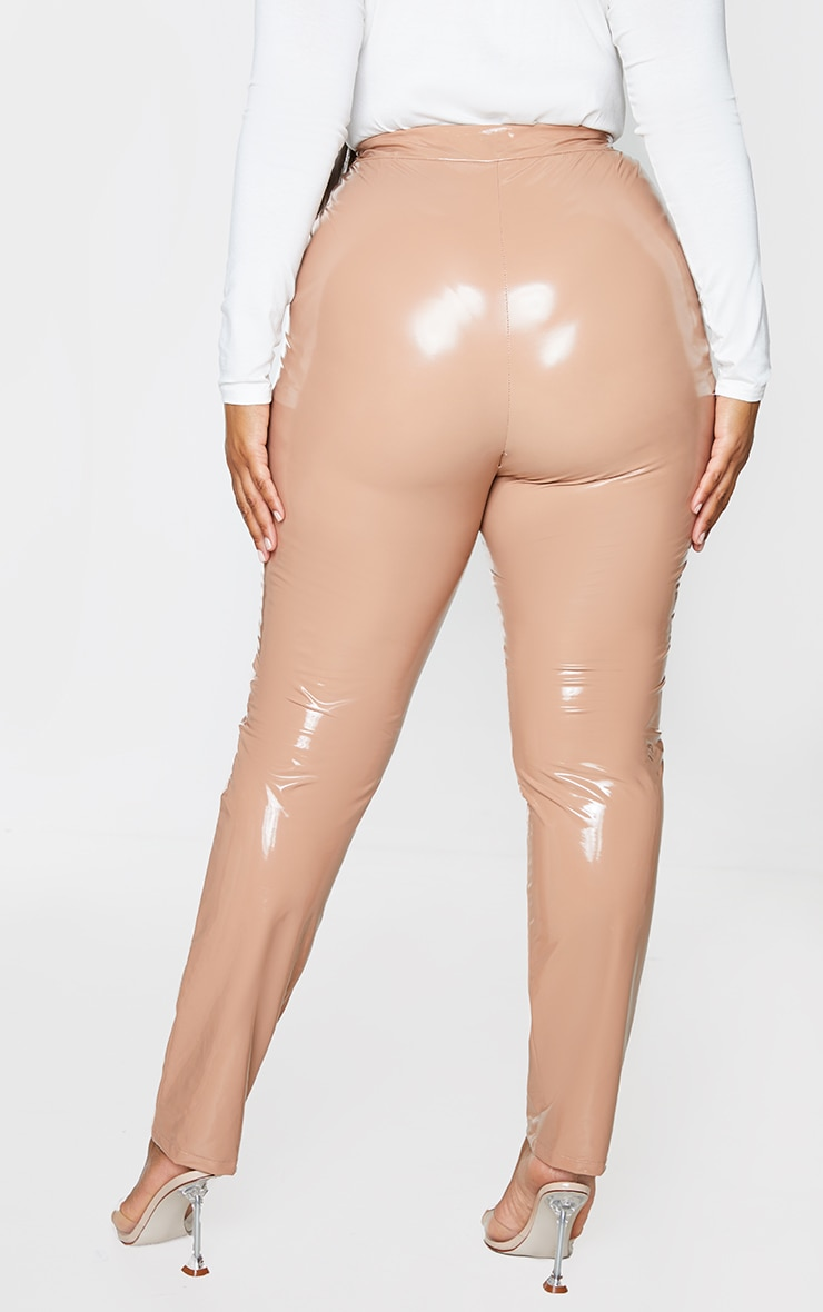 Plus Tan Vinyl Skinny Pants 3