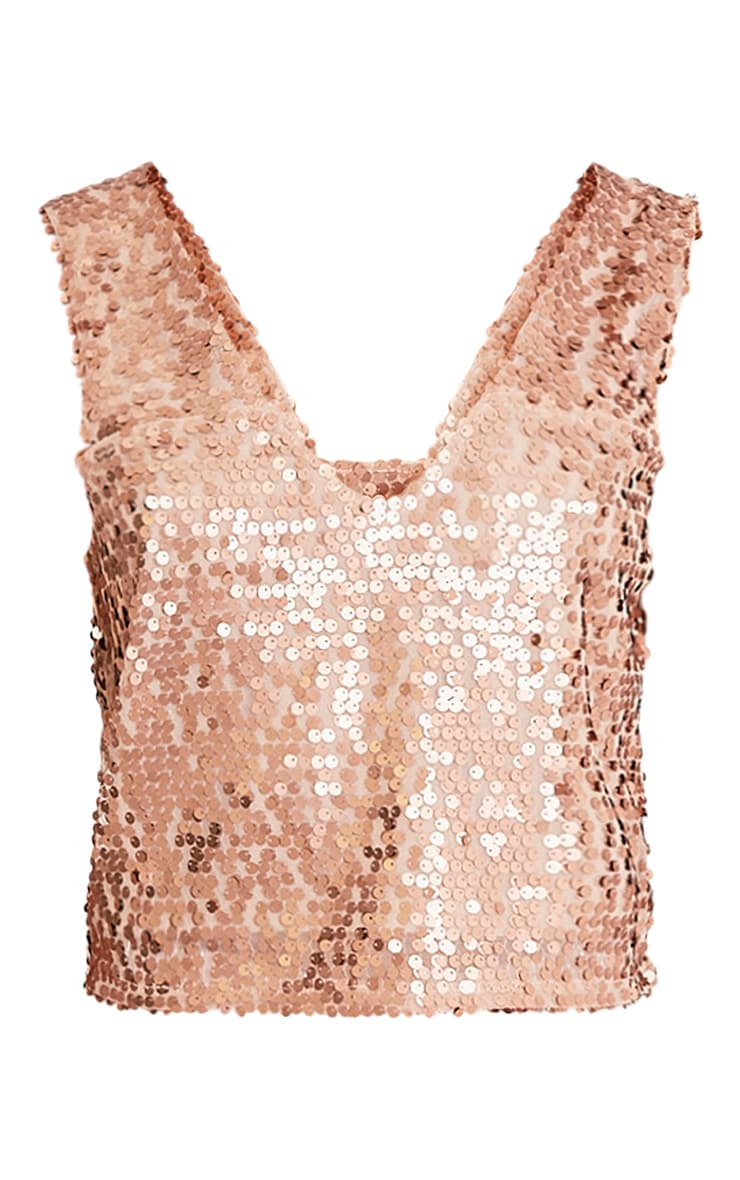 Camari Gold Sequin V Neck Crop Top 3
