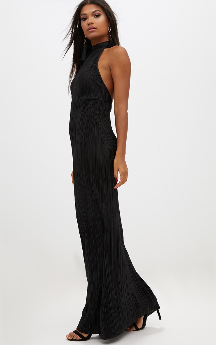 Black Pleated High Neck Maxi Dress 4