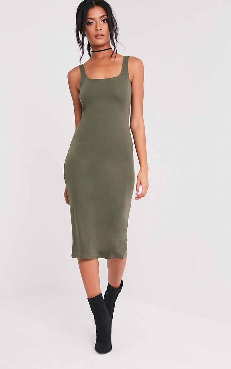 Savana Khaki Square Neck Midi Dress 5