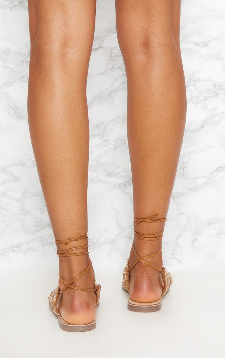 Tan Jewel Sandals 4