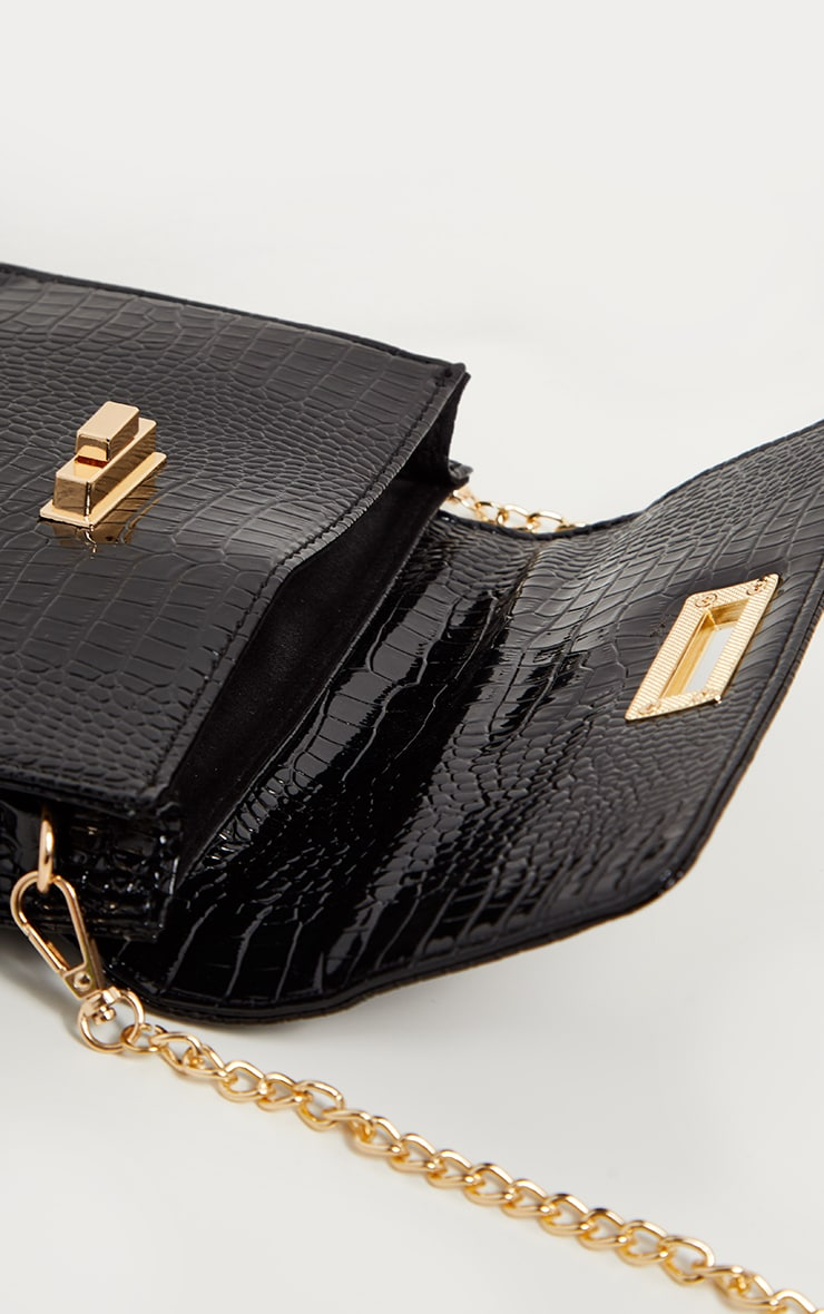 Black Patent Croc Mini Bag 4