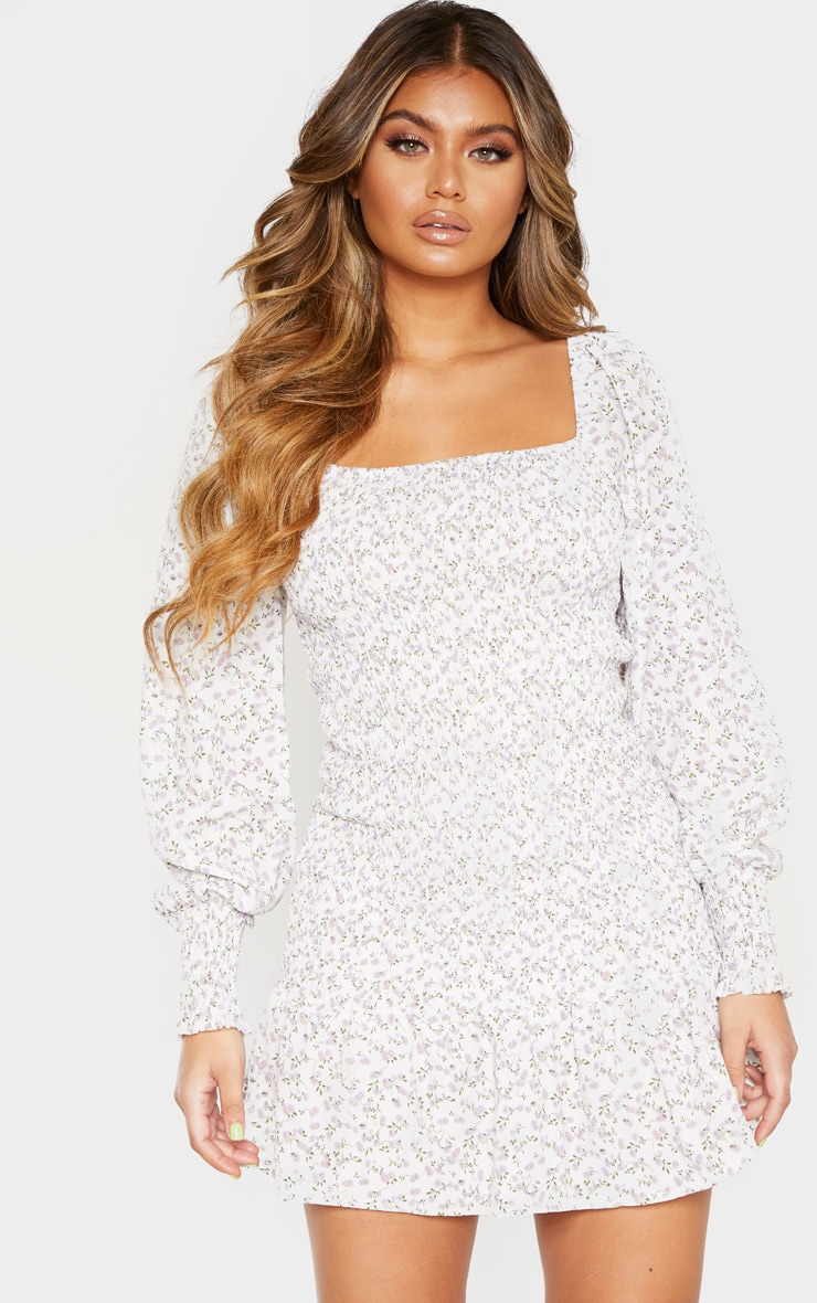 White Floral Print Puff Sleeve Shirred Dress 4