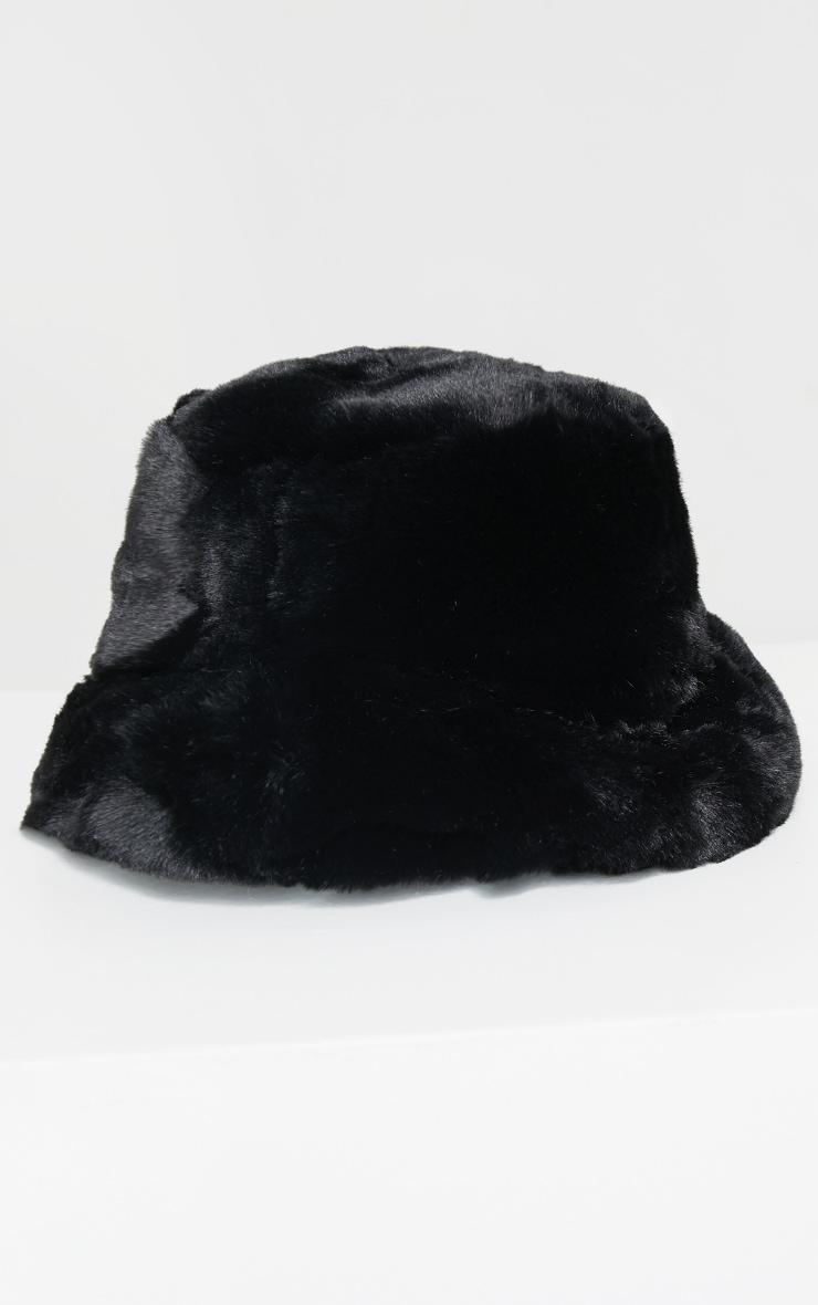Premium Black Faux Fur Bucket Hat 2