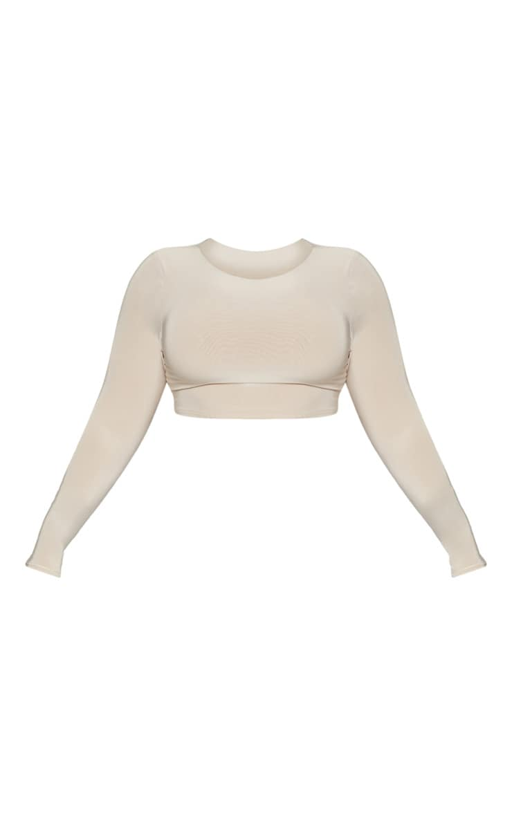 Plus Stone Second Skin Long Sleeve Wide Neck Crop Top 3