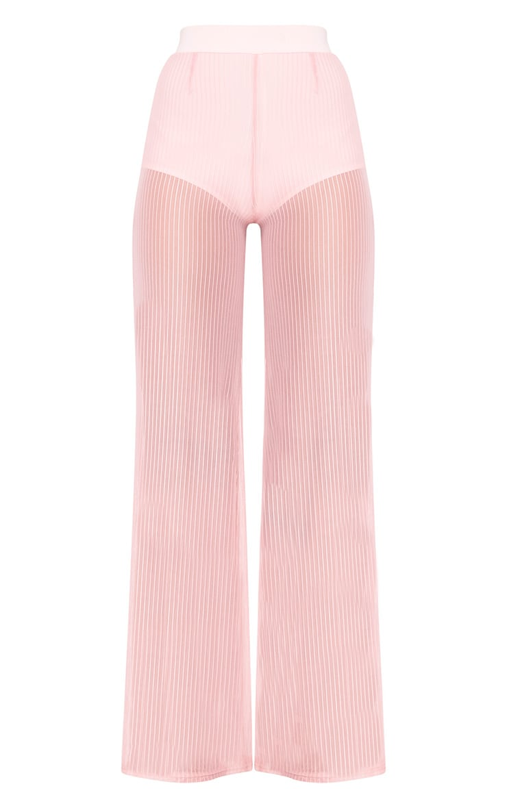 Shamira Pink Sheer Stripe Wide Leg Trousers 3