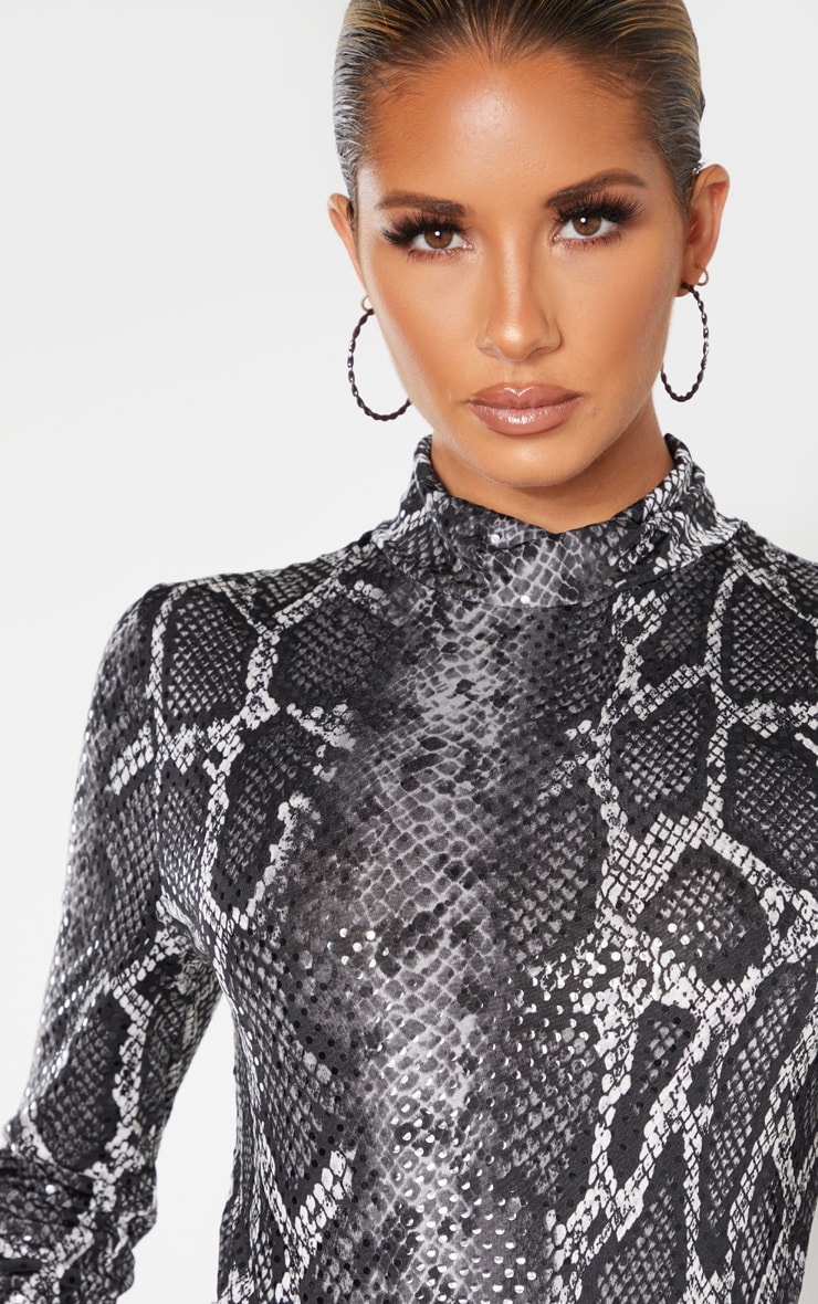 Grey Snake Sequin High Neck Bodysuit  5