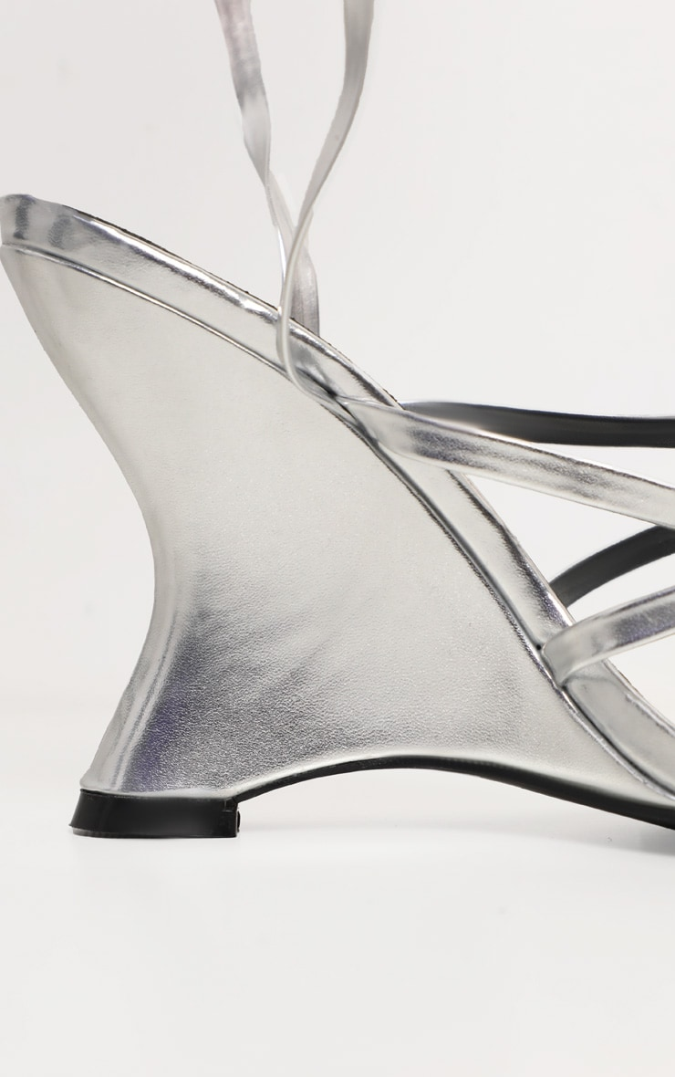 Silver Strappy Ankle Tie Up Wedge Sandal 4