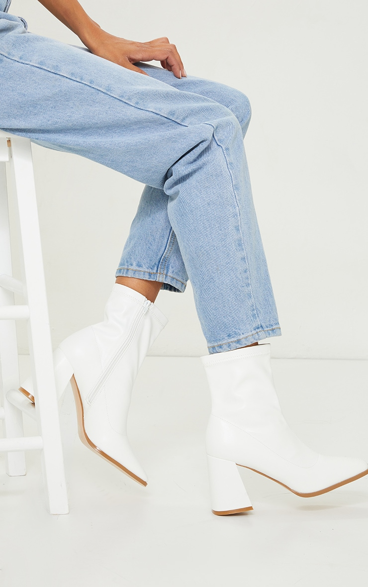 White Matte PU Square Toe Mid Flare Block Heel Sock Boots 1