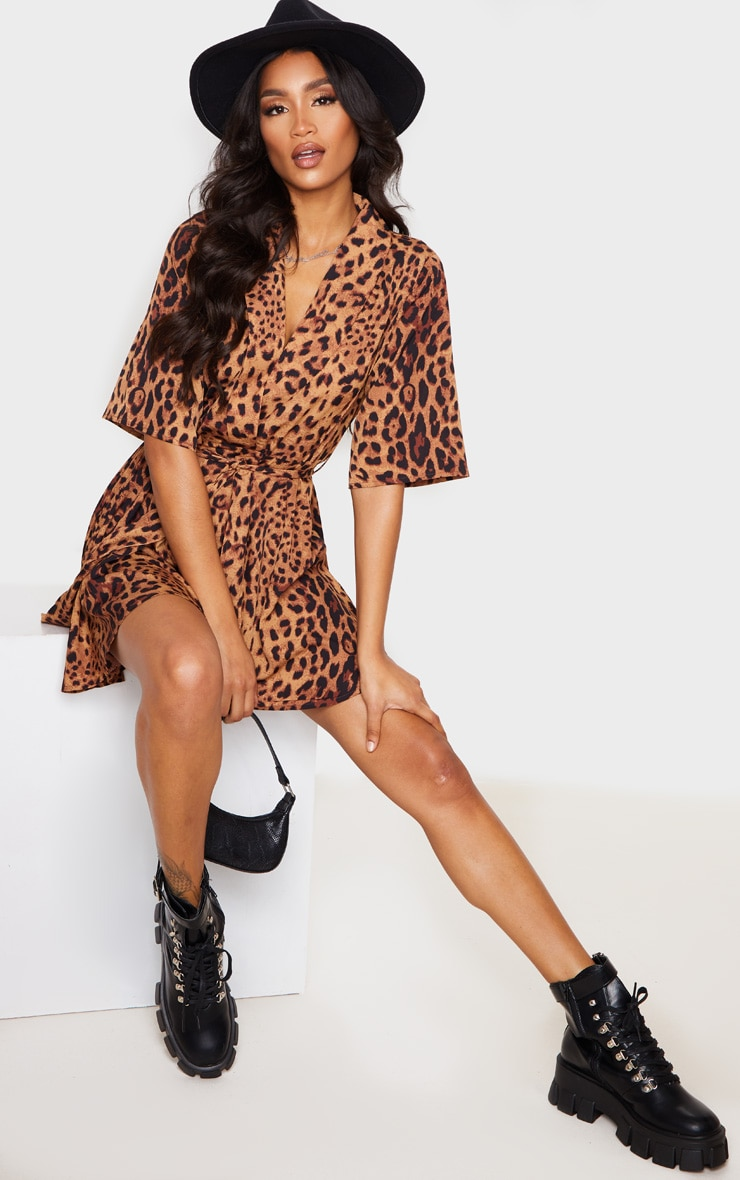 Brown Leopard Print Tea Dress 4