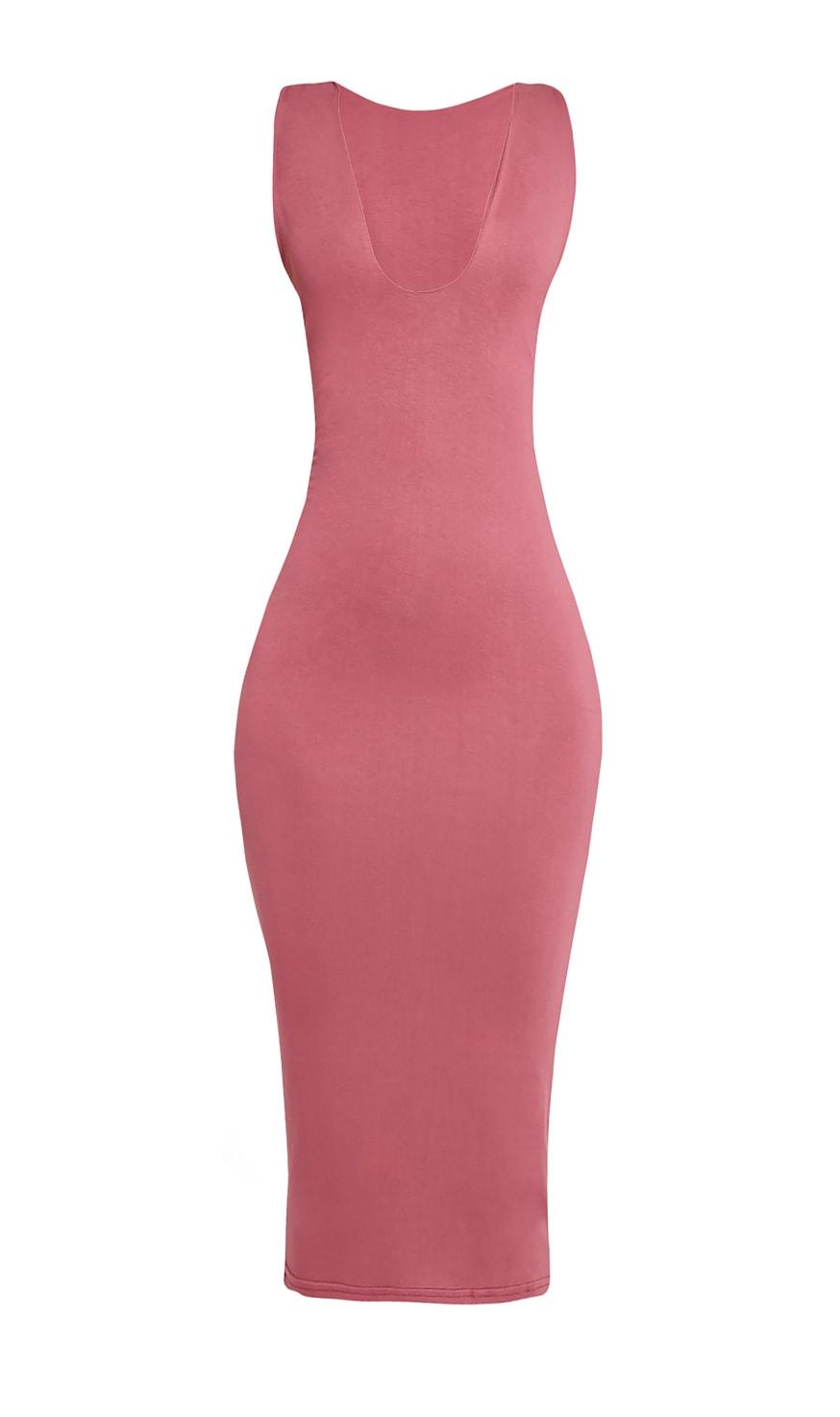 Basic Rose Plunge Jersey Midi Dress 3