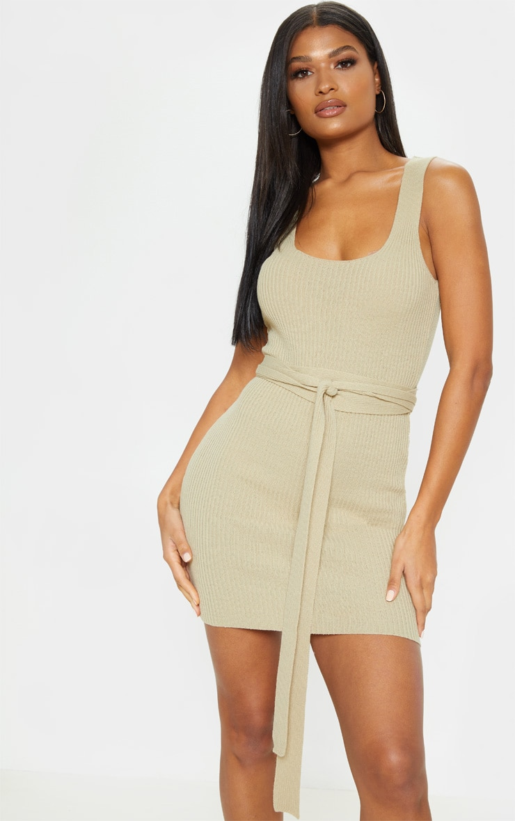 Stone Knitted Tie Detail Bodycon Dress 1