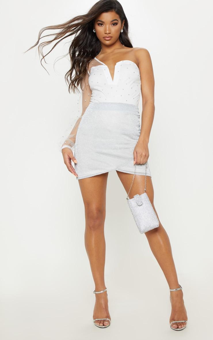 White Mesh One Shoulder Polka Dot Glitter Bodysuit 4