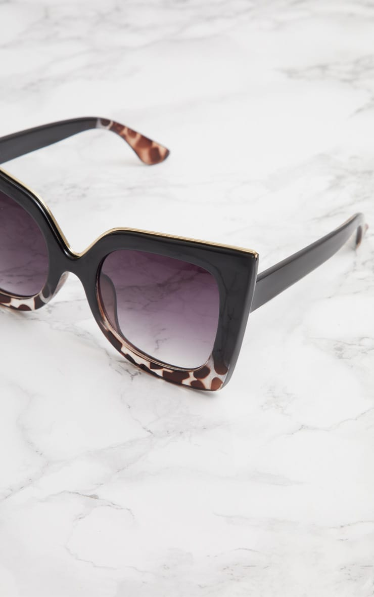 Black Half Tortoiseshell Oversized Sunglasses 4