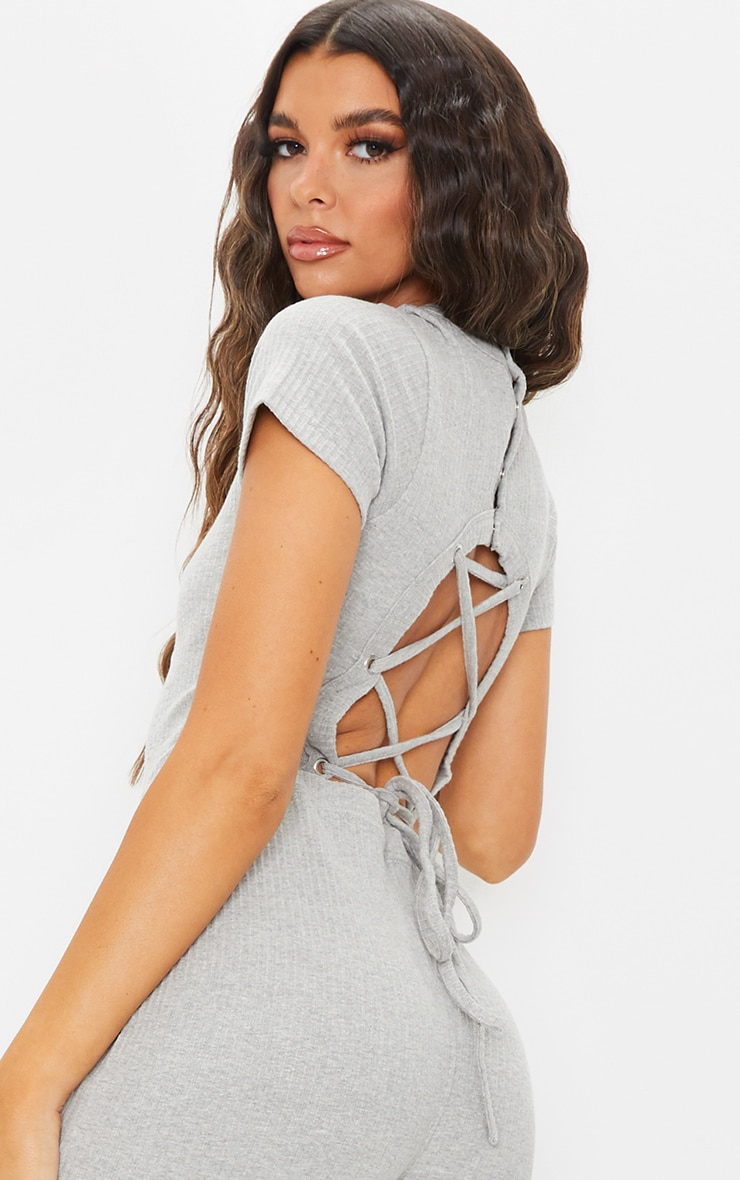 Grey Marl Thick Rib Lace Up Back Jumpsuit 4