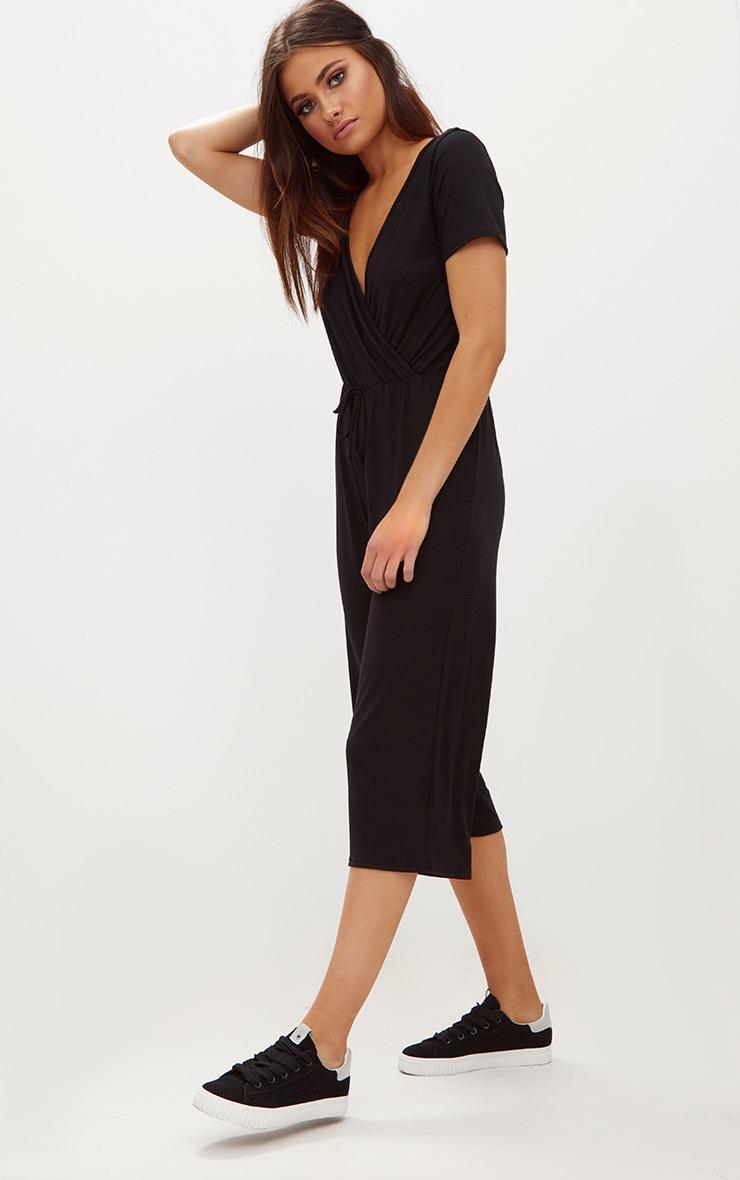 Black Jersey Wrap Culotte Jumpsuit 1