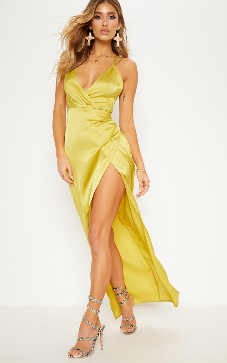 Chartreuse Asymmetric Sleeve Cut Out Split Leg Maxi Dress  1
