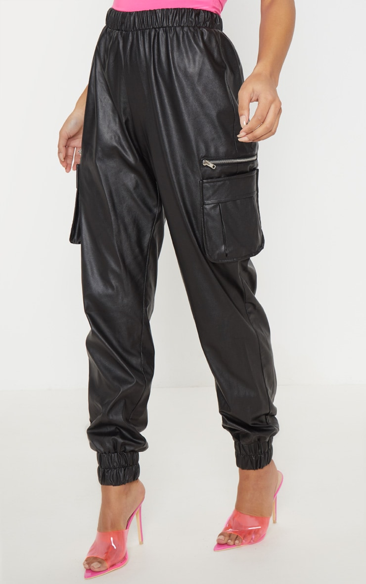 Black Faux Leather Cargo Track Pants 2