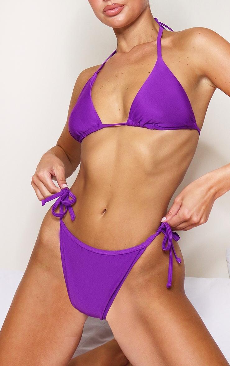 Purple Mix & Match Tie Side Bikini Bottoms 1
