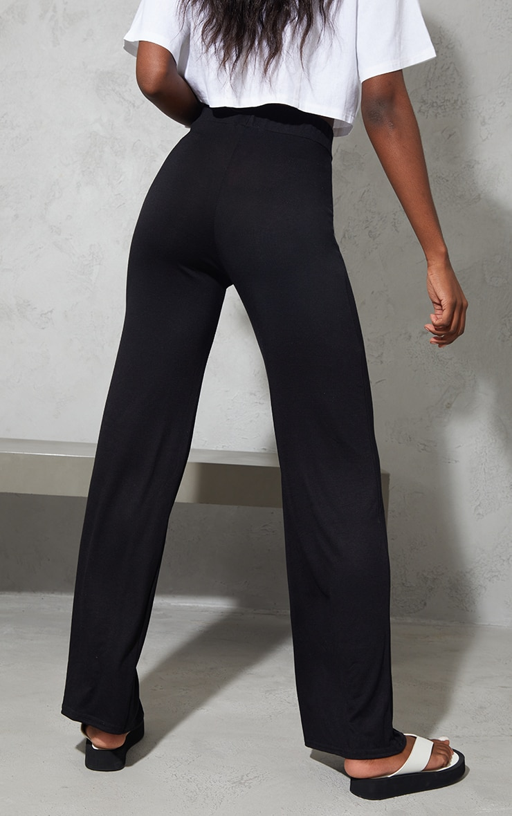 Tall Black Drawstring Jersey Wide Leg Jogger 3