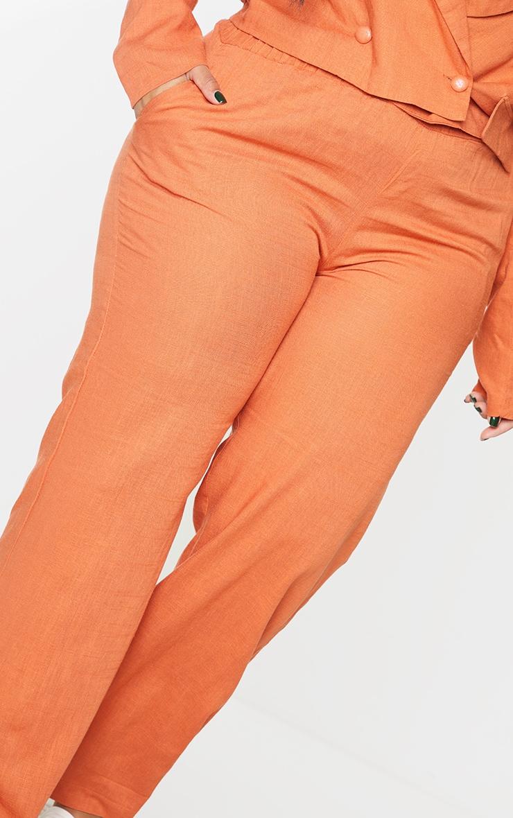 Plus Burnt Orange Elasticated Waist Wide Leg Pants 4