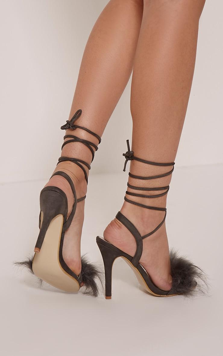 Missie Charcoal Fluffy Tie Sandals 2