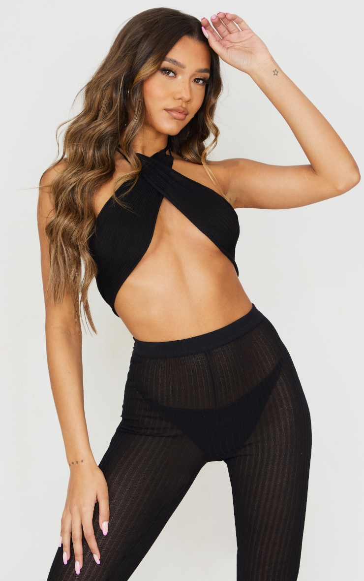 Black Sheer Knit Cross Halter Neck Top 1