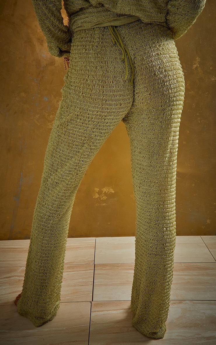 Green Textured Beach Trousers 3