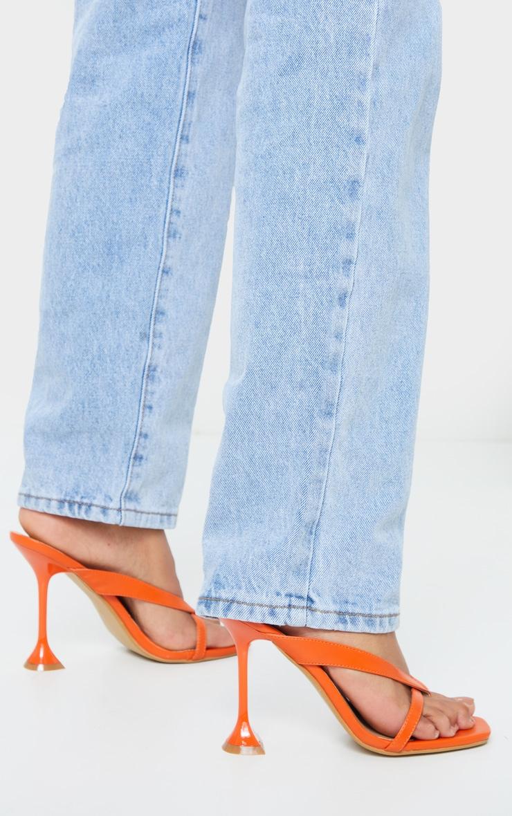 Orange Cake Stand High Heel Toe Thong Strap Mule Heels 2