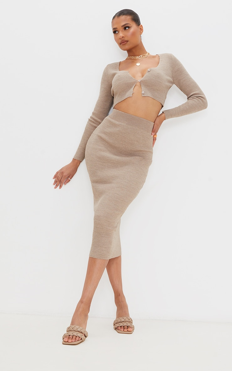 Mocha Ribbed Knitted Midaxi Skirt 1