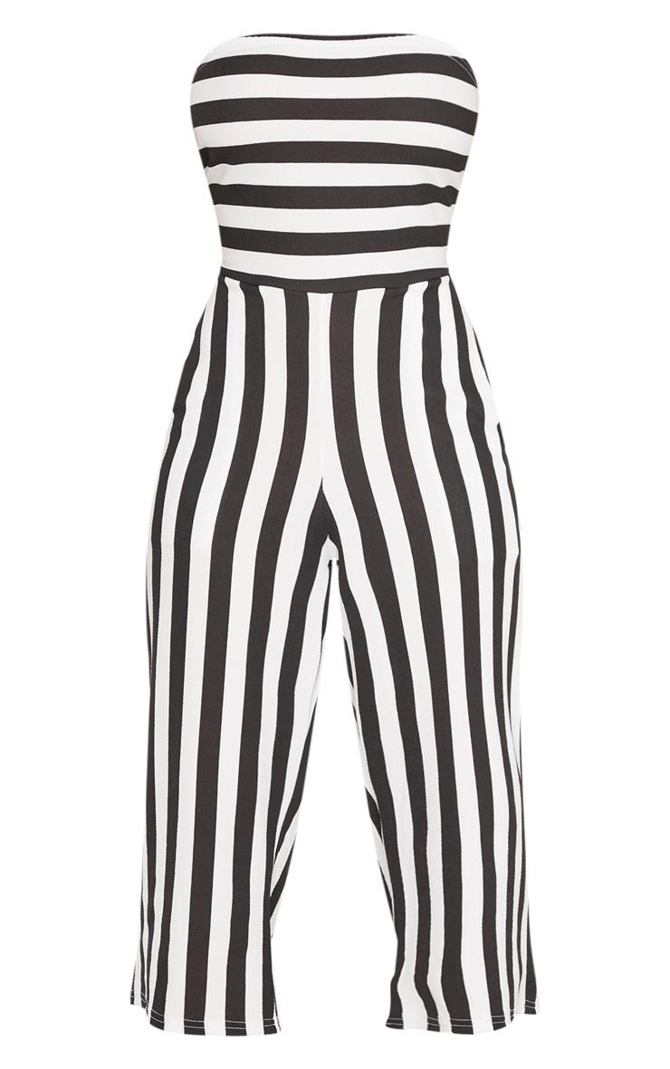 Petite Black Contrast Stripe Bandeau Culotte Jumpsuit 3