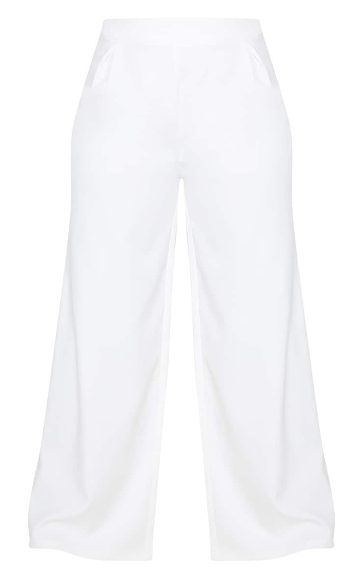 Plus White Pleat Detailed Wide Leg Pants 5