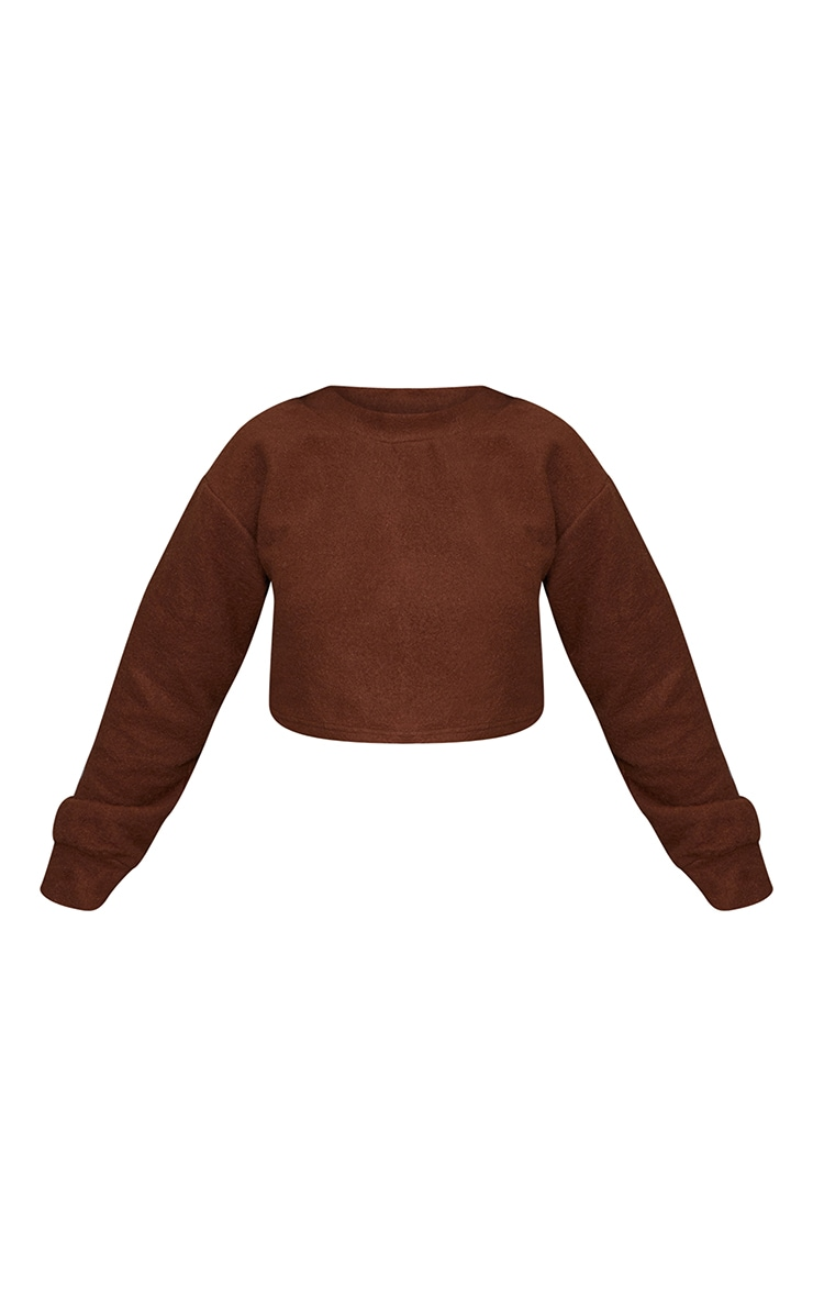 Petite Chocolate Brushed Sweat Oversized Sweater 5