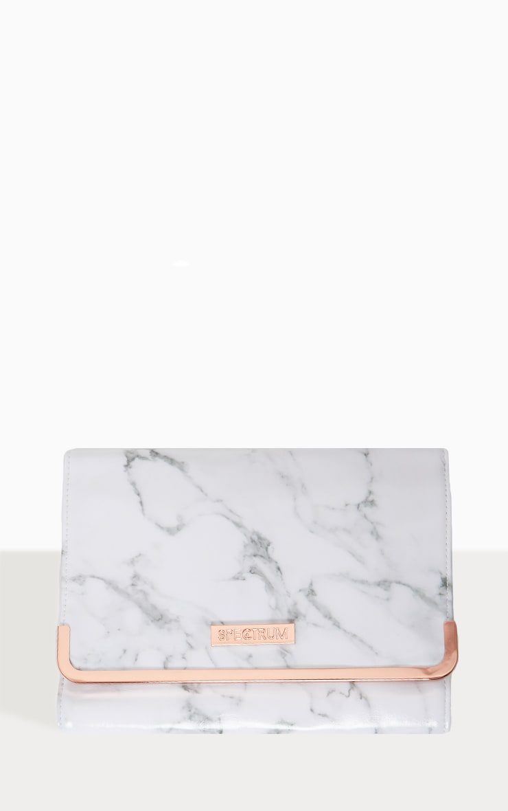 Spectrum White Marble Makeup Brush Roll 1