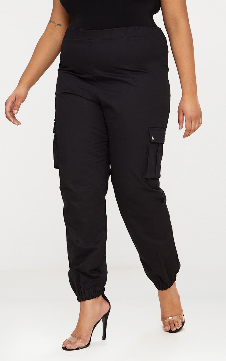 Plus Black Pocket Detail Cargo Trousers 2