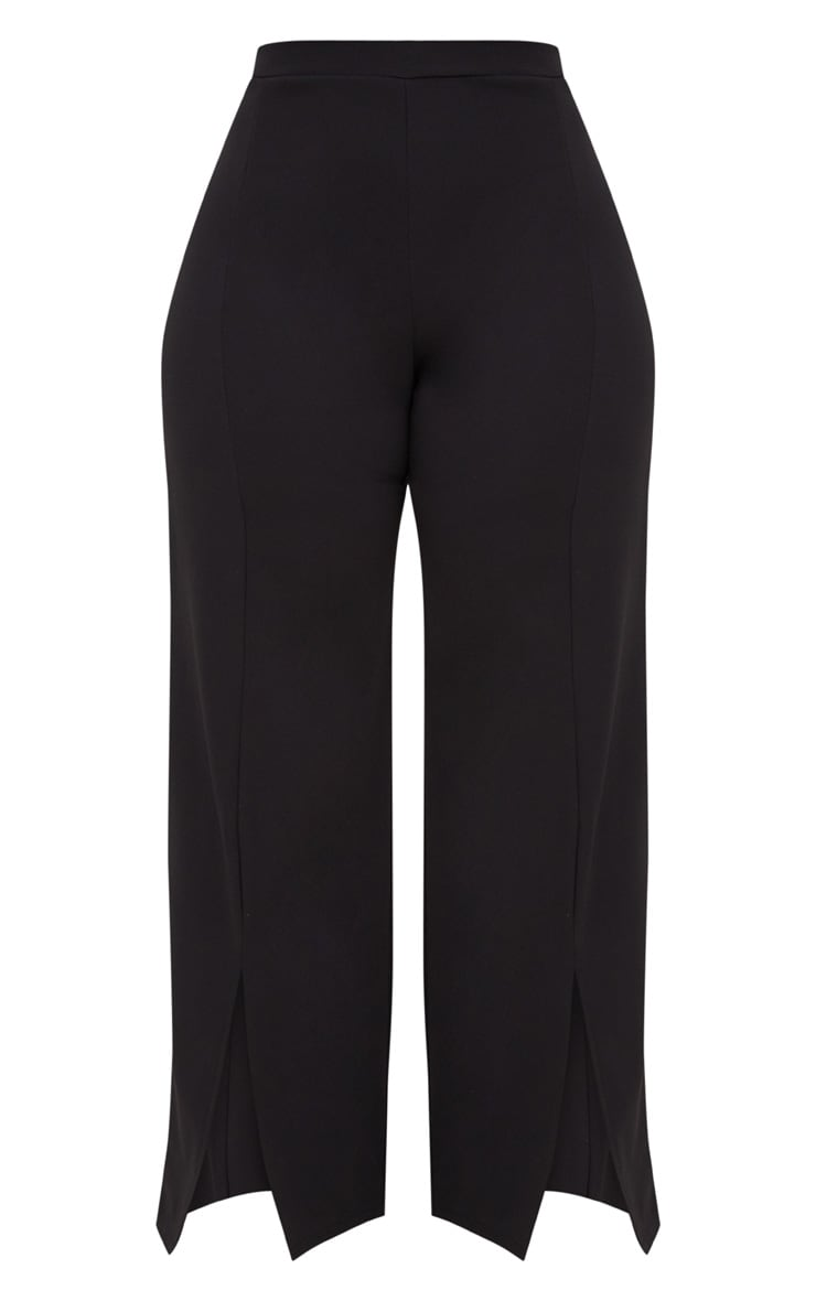 Plus Black Split Hem Straight Leg Trousers 3