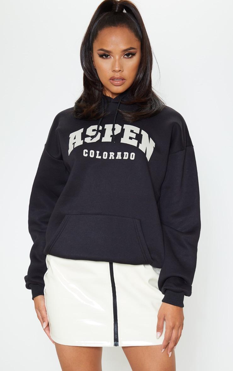Black Aspen Slogan Print Hoodie 1
