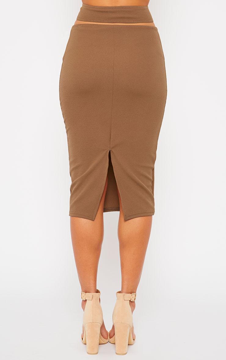 Shanel Mocha Cut Out Midi Skirt 4