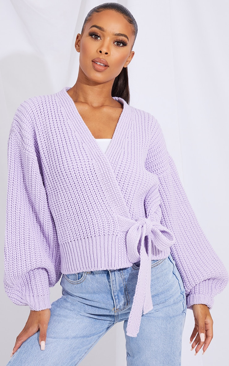 Lilac Chunky Tie Waist Belted Cardigan 1