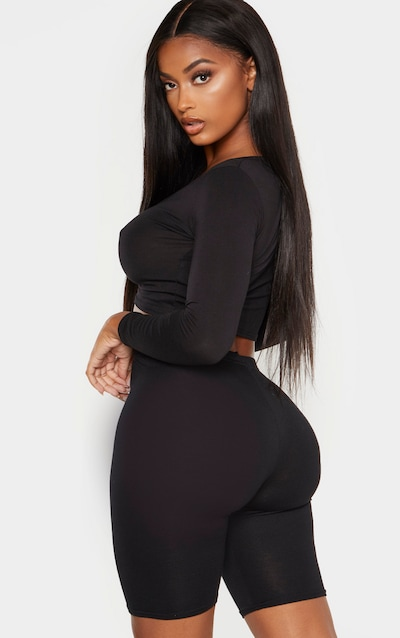 Shape Black Long Sleeve Ruched Front Crop Top