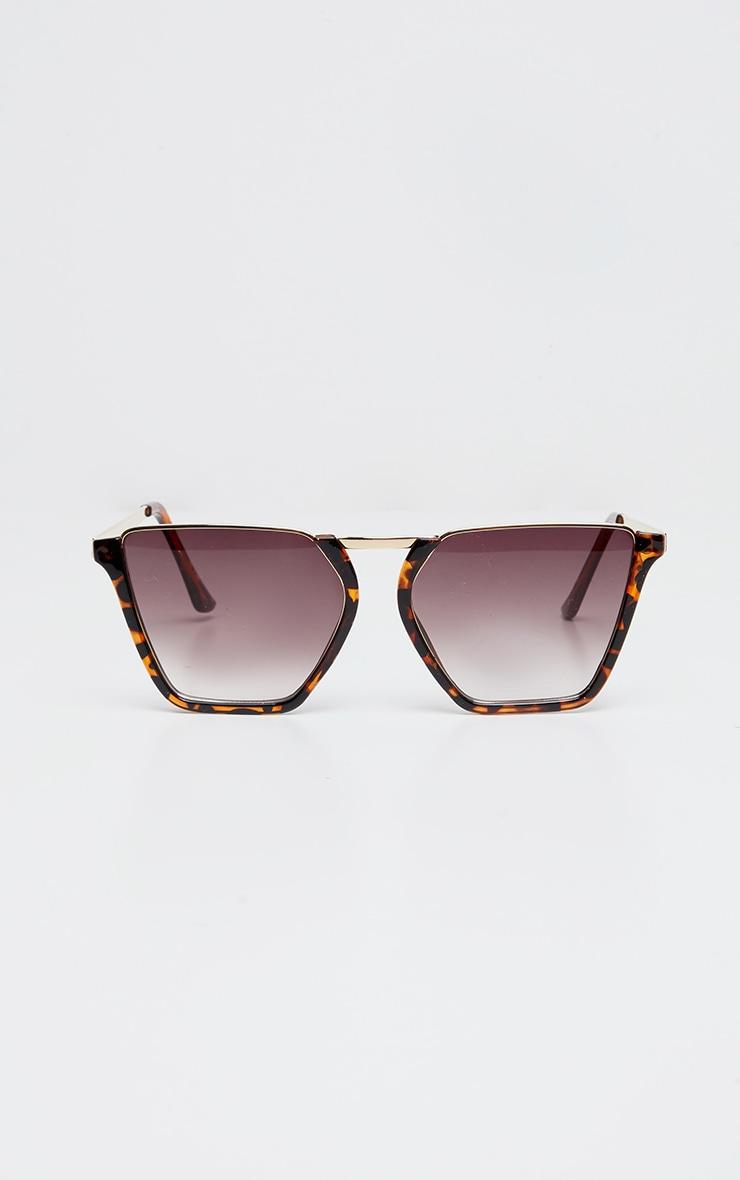 Brown Tortoise Half Frame Sunglasses 1