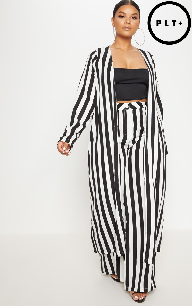 Plus Black Striped Longline Duster Jacket