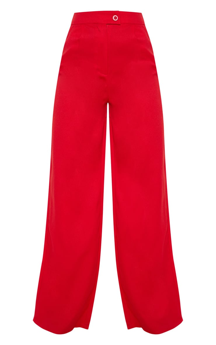 Red Formal Button Wide Leg Pants 3
