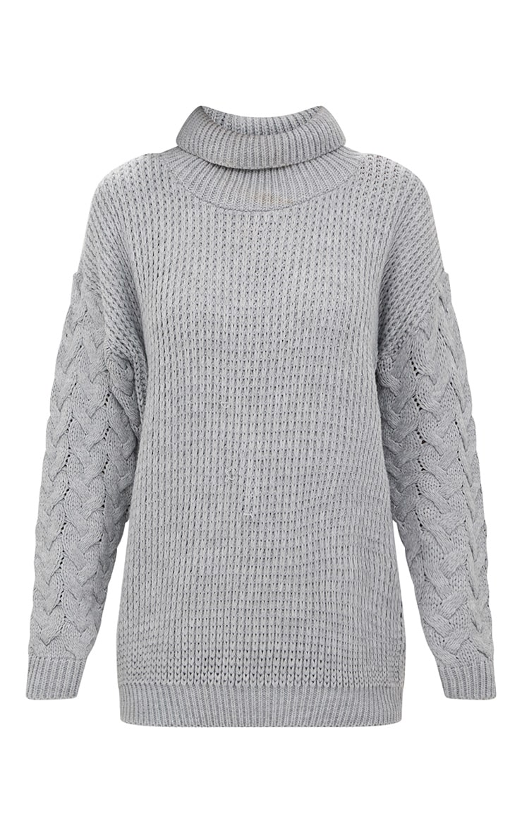 Grey Cable Knit Sleeve Jumper 3