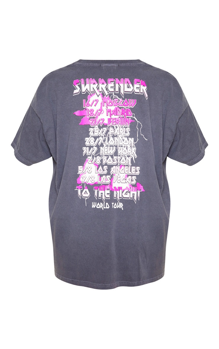 Grey World Tour Surrender Slogan Washed T Shirt 4