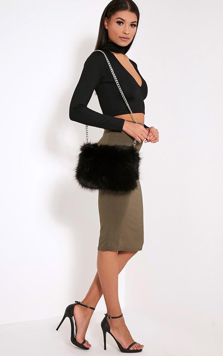 d882211908 Christah Black Faux Fur Chain Shoulder Bag image 6